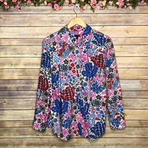Talbots Multicolored Floral Button Down Top